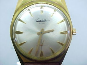 gents vintage everite king gold plated wrist watch