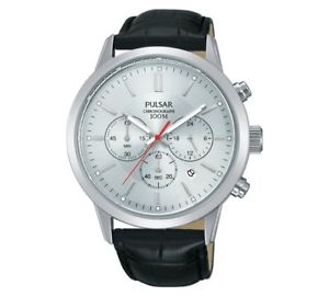 pulsar gents chronograph leather strap watch    pt3749x1
