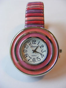 geneva pink, rose and lavender striped stretch link watch with striped bezel