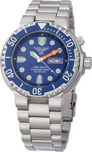 【送料無料】army watch 100atm taucher heliumventil saphirglas tagamp;datum blau herrenuhr ep845
