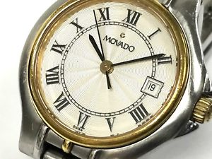 movado the moderate 26mm steel amp; gold 2tone date watch, cal 8136840