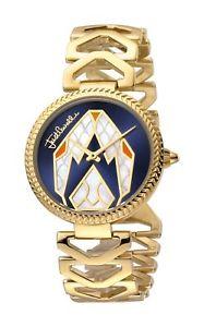 【送料無料】just cavalli womens jc1l045m0075 magnifica gold ip stainless steel wristwatch