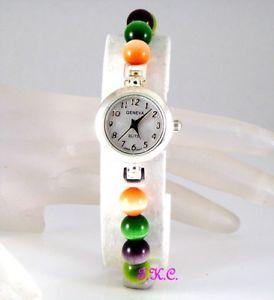geneva silver pltd colouful fiery electric cats eye slim retro dress wrist watch