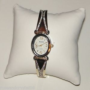 simplicity~ austrian crystal gold tone ladies bracelet watch