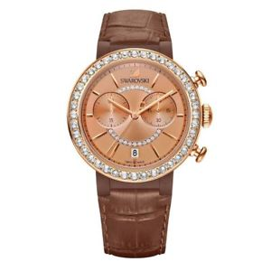 【送料無料】swarovski chronograph watch brown citra sphere rose gold leather swiss