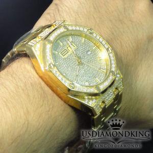 【送料無料】yellow all stainless steel blingmaster full iced out cz fashion wrist watch