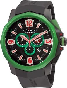 【送料無料】stuhrling mens 52mm swiss quartz chronograph silicone sport watch 300332w671