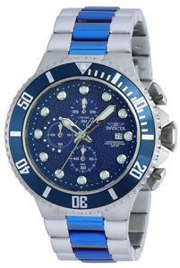 【送料無料】invicta mens 50mm pro diver chronograph two tone ss blue quartz watch 90081