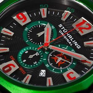 stuhrling mens 52mm swiss quartz chronograph silicone sport watch 300332w671