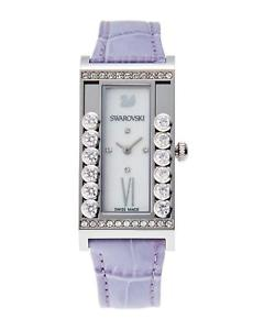 【送料無料】swarovski watch 21mm x 33mm lovely crystals square lilac leather swiss made