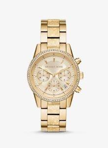 【送料無料】 nwt womens michael kors ritz pav textured goldtone watch mk6597