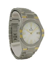 【送料無料】bulova 98h04 mens round white analog date roman numeral watch