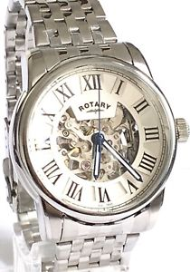 rotary gents automatic skeleton watch