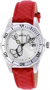 womens invicta 19739 angel red leather strap watch