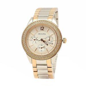 bulova swarovski crystal collection 98n100 twotone stainless steel analog watch