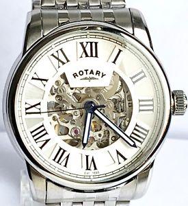 【送料無料】rotary gents automatic skeleton watch