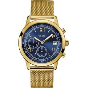 guess mens summit 44mm goldtone steel bracelet amp; case quartz watch w1112g2