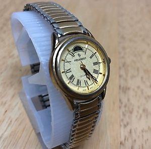 vintage peugeot lady gold tone moon phase analog quartz watch hours~ battery