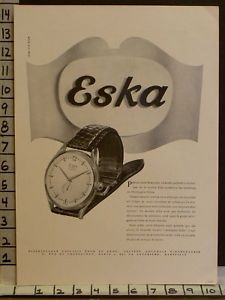 1949 eska watch wrist time chronometre swiss movement french paris ad 23241