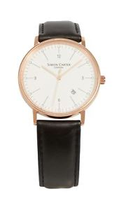 simon carter rose gold finish bevelled window mens wrist watch