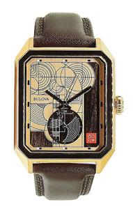 送料無料 倉 bulova 入荷予定 mens frank lloyd wright watch stainless steelleather rose gold 97a135