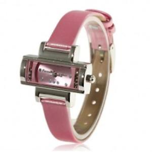 pink crystal rectangular ladies fashion watch