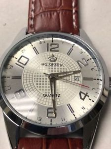 mens analog quartz watch leather strap stainless steel case jewelry accessories