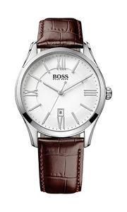 【送料無料】hugo boss 1513021 classic ambassador round herrenuhr leder braun neu