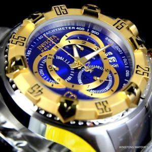invicta reserve excursion steel swiss mvt chronograph 52mm blue 2 tone watch