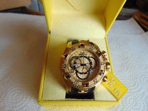 【送料無料】invicta excursion 52mm swiss movt 18k ionplated gold stainless steel watch