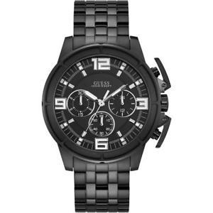 【送料無料】orologio uomo guess apollo w1114g1 chrono bracciale acciaio nero sub 100mt