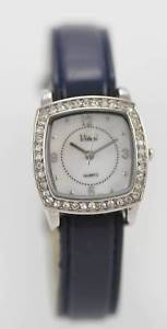 vivani womens leather stainless steel water resistant quartz battery watch