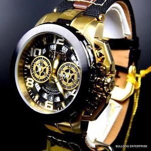 【送料無料】invicta reserve nitro racing swiss leather nylon gold tone chronograph watch