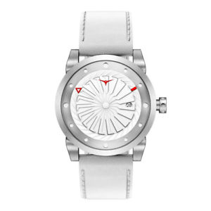 【送料無料】zinvo magic turbina automatico acciaio grigio bianco pelle zaffiro orologio uomo