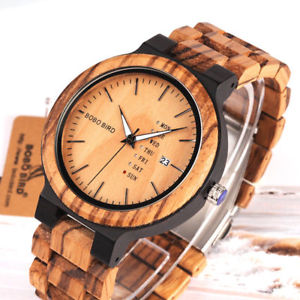 【送料無料】xmas gift bobo bird wooden watch mens icial zerba week quartz unique us brand