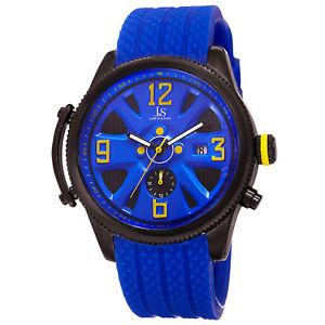 mens joshua amp; sons jx101bu two time zone date polyurethane strap quartz watch