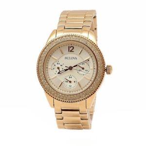 【送料無料】bulova womens swarovski crystal collection 97n101 rose gold analog watch