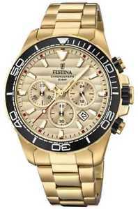 【送料無料】festina mens gold stainless steel chronograph gold f203641 watch 19