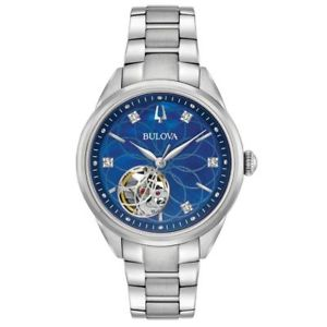 bulova 96p191 womens classic blue mother of pearl automatic steel watch