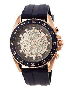 【送料無料】395 michael kors automatic jetmaster skeleton chronograph silicone watch mk9025