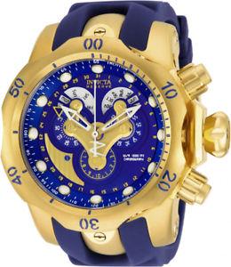 【送料無料】nvicta mens venom chronograph gold tone s steel polyurethane watch 14465