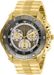 【送料無料】invicta mens reserve quartz chrono 100m gold tone stainless steel watch 26572
