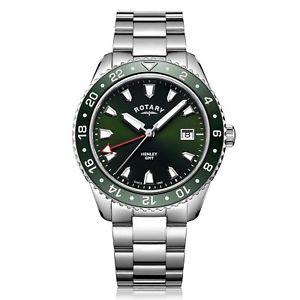 【送料無料】rotary gb0510824 mens henley green gmt wristwatch