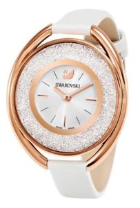【送料無料】swarovski womens crystalline quartz stainless steelwhite leather watch 5230946