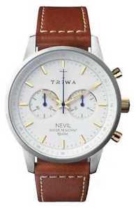 【送料無料】triwa mens snow nevil brown leather strap nest115sc010215 watch 19