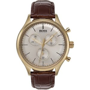 【送料無料】hugo boss mens companion goldbrown leather chronograph quartz watch 1513545