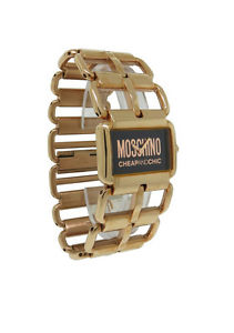 【送料無料】moschino mw0037 womens rectangular rose gold tone analog open link watch