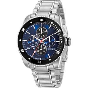 【送料無料】orologio uomo sector 350 r3273903006 chrono acciaio blu nero sub 100mt