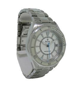 【送料無料】bulova precisionist 96m123 womens round analog date silver tone watch