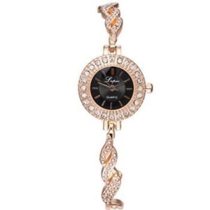 gold crystal lined ladies fashion watch